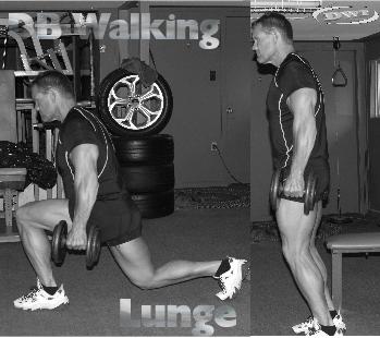 DB walking lunges