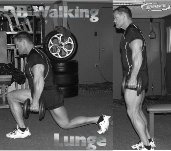 DB walking lunges