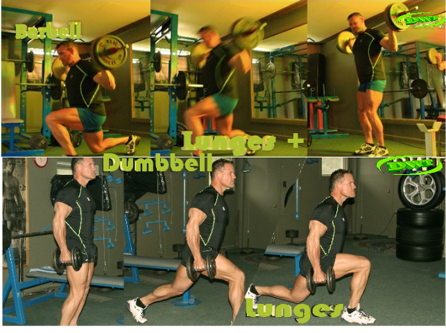 Barbell and Dumbbell lunges