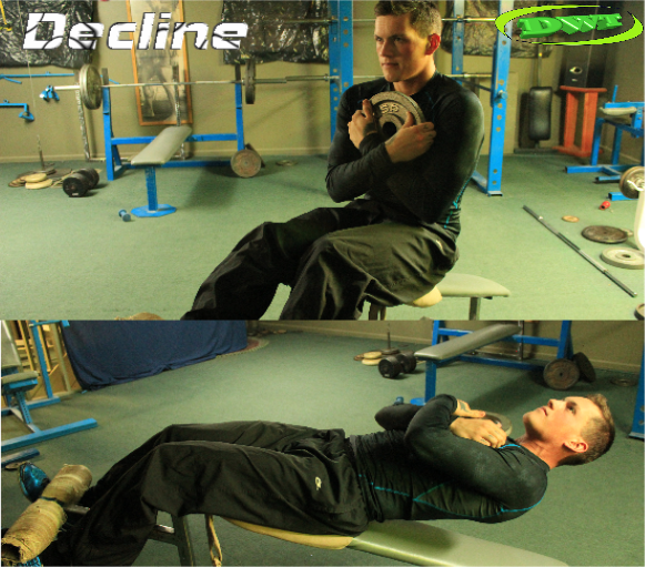 Decline weighted situps