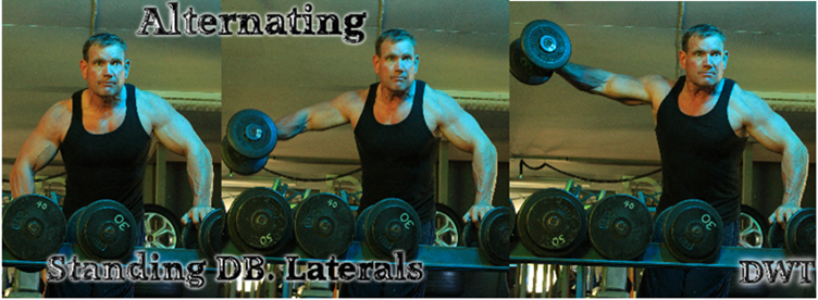 Alternating dumbbell laterals