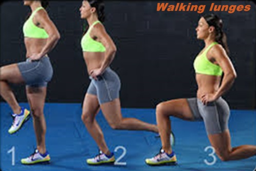 Hands on hips, walking lunges