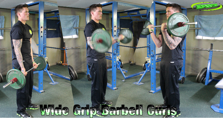 Wide grip barbell curls
