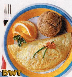 Omelette bran muffin breakfast